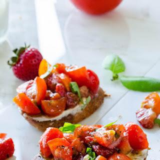 Strawberry Tomato Basil Bruschetta with Blue Cheese Spread Recipe