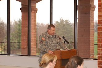 Photo: Col. Sean Hannah, Director of the Army Center of Excellence for the Professional Military Ethic at West Point, delivers the introduction for the day one guest speaker during the luncheon.