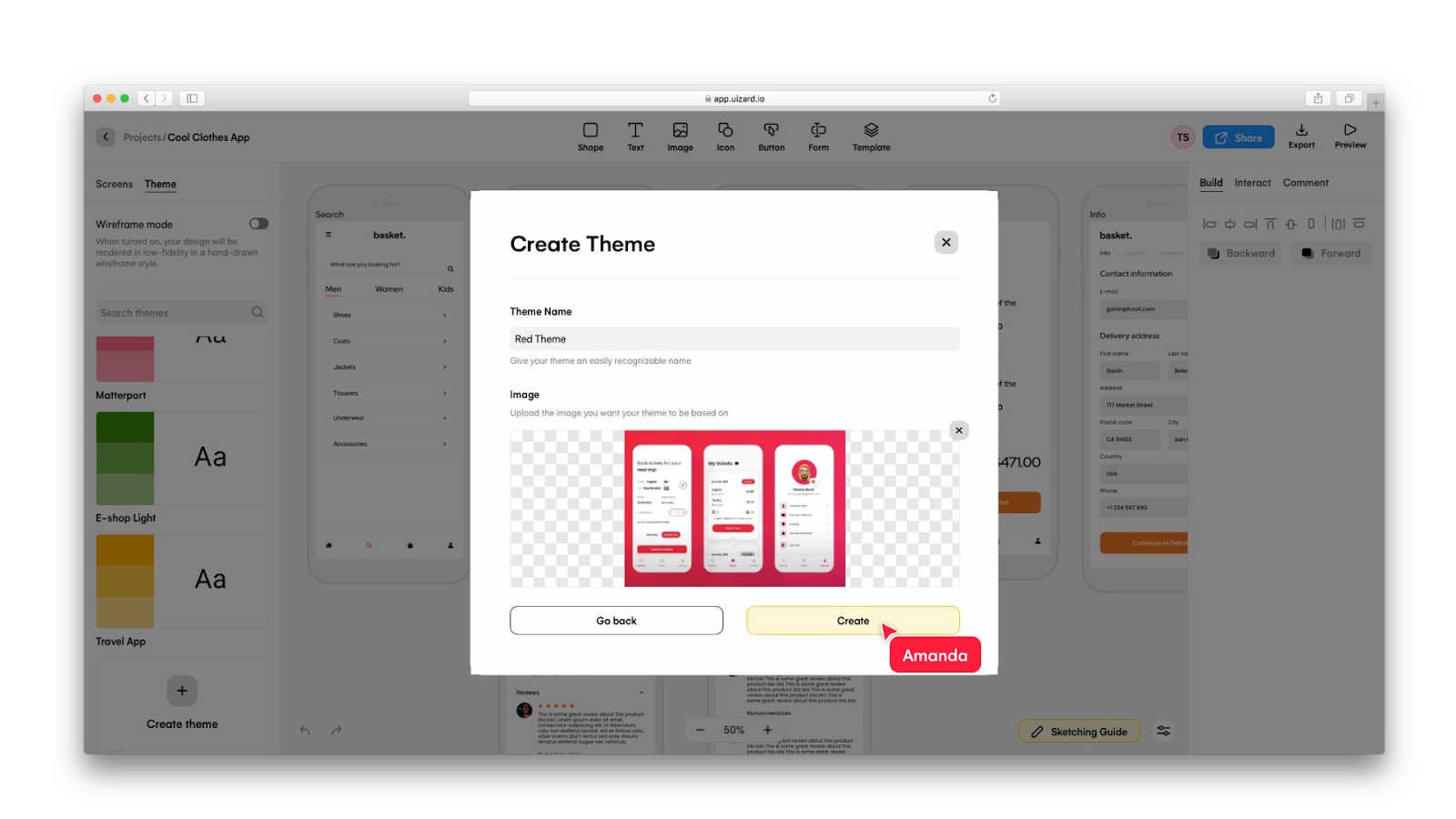 Uploading a screenshot of a Dribbble design in Uizard - Uizard and Dribbble