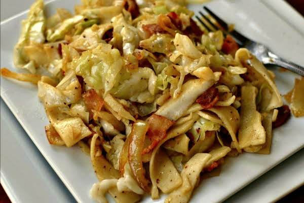 This Simple Haluski Combines Bacon, Cabbage, Egg Noodles, Garlic And Seasonings Into A Delectable Taste Treat.
