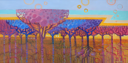 """Photo: """"Champagne Trees"""", acrylic painting 12"""" x 24"""" by Nancy Roberts, copyright 2015."""