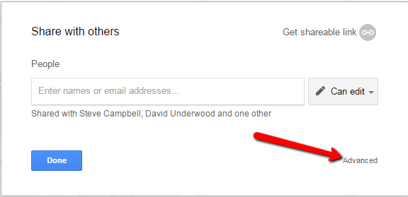 Google Docs Sharing Advanced Link