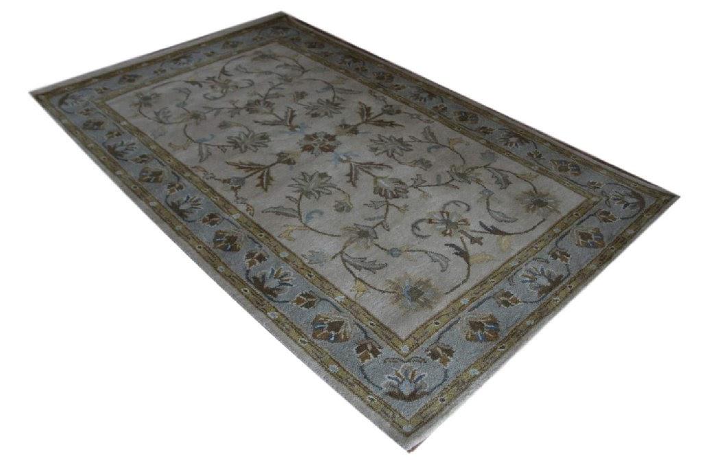 turkusowy pastelowy dywan persian ziegler wełniany ręcznie tkany 155x245 tradycyjny kwiatowy