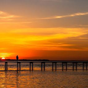 Walking down the bridge by Ted Khiong Liew - Landscapes Sunsets & Sunrises ( #sunset #bridge #water #sea )