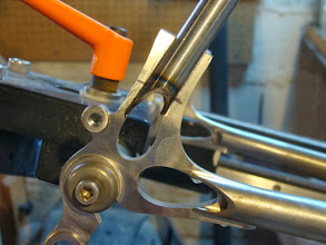Photo: Now I'm grinding the ends of the seat stays so they wrap nicely around the teardrops in the dropouts.