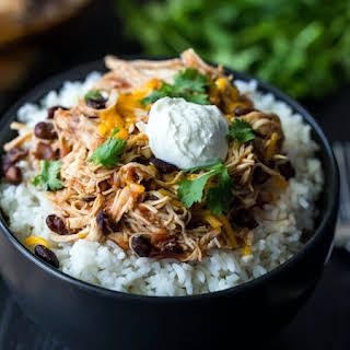Slow Cooker Salsa Chicken Rice Bowls.