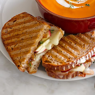 Apple and Cheddar Panini with Onion Jam.