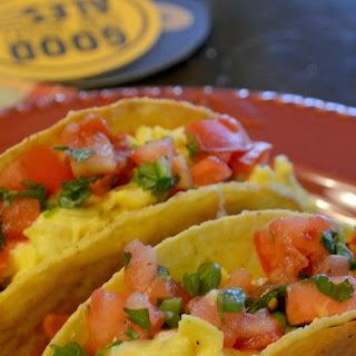 Tempeh Chorizo and Egg Tacos with Pepper-Jack Cheese and Pico de Gallo Salsa.