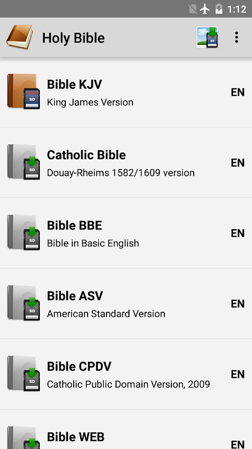 Bible: KJV, BBE, ASV, WEB, LSG- screenshot