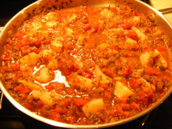 Once the mixture has simmered for 30 min you can add the fish chunks...