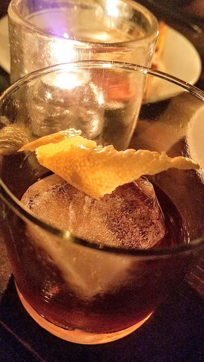 Night Owl cocktail with bourbon, coconib ramozzotti, toasted pecan bitters at Radar Restaurant on North Mississippi, Portland