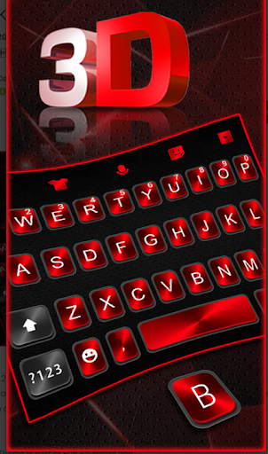 Classic 3D keyboard Neon Red Black Theme 2019 screenshot 2