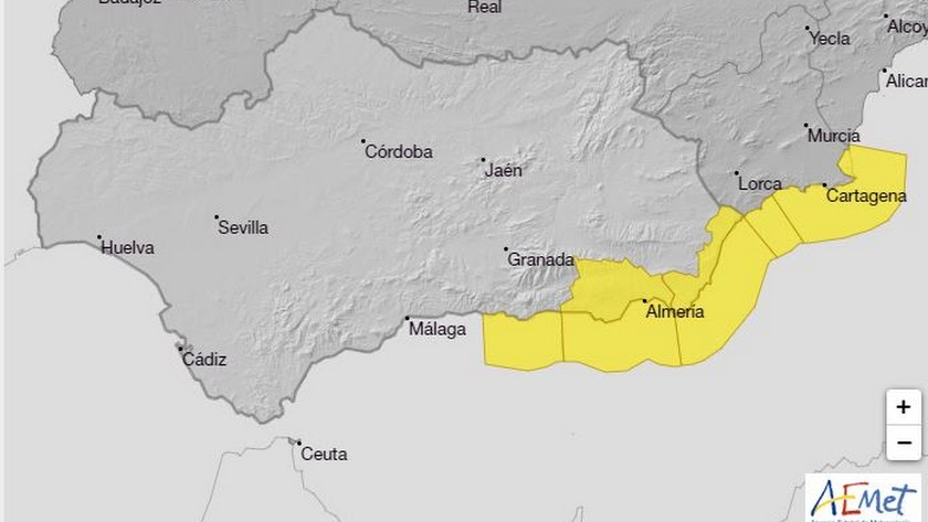 Aviso amarillo este lunes en la provincia de Almería.
