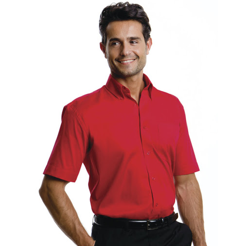 Kustom Kit Men's Short Sleeve Corporate Oxford Shirt (Red)
