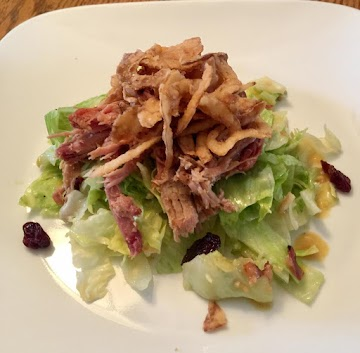 Cherry Pork Salad, Warm Bacon Mustard Dressing Recipe