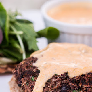 Vegan Chia Black Bean Burgers with Sriracha Mayonnaise