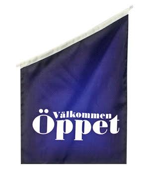 Öppet Fasadflagga 60x40cm Mörk blå