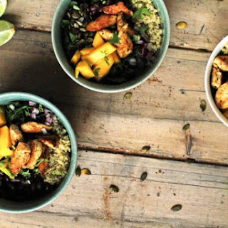Mango Chipotle Quinoa Bowl with Optional Lime Chicken.