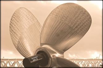 Photo: A propeller is a type of fan that transmits power by converting rotational motion into thrust. A pressure difference is produced between the forward and rear surfaces of the airfoil-shaped blade, and a fluid (such as air or water) is accelerated behind the blade. Propeller dynamics can be modelled by both Bernoulli's principle and Newton's third law. A propeller is sometimes colloquially known as a screw.