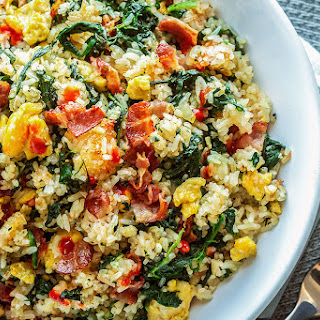 Bacon Egg and Spinach Fried Rice.