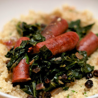 Merguez Sausage with Collards and Couscous.