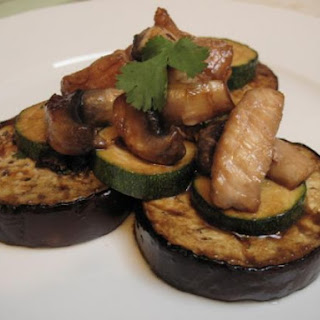 Teriyaki Pork Strips on Grilled Aubergines