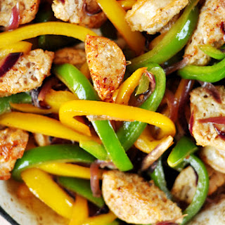 Easy Turkey Sausage with Peppers & Onions.