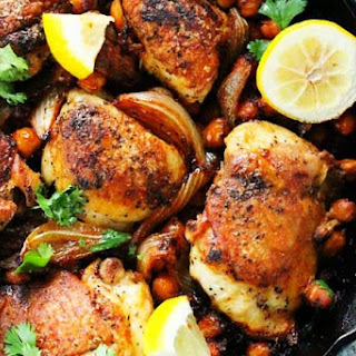 One Pot Harissa Chicken with Chickpeas and Yogurt