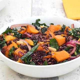Butternut Squash & Kale Black Rice Salad with Ginger Lime Dressing [vegan].