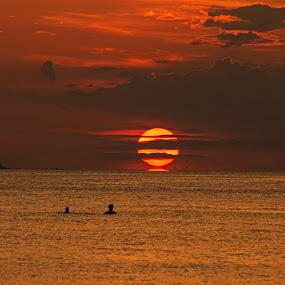 end of the day by Asya Atanasova - Landscapes Sunsets & Sunrises ( clouds, orange, sky, sunset, beach, sun,  )
