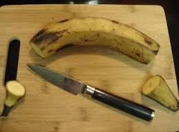You want to use a knife to open a plantain. 1st cut off the...
