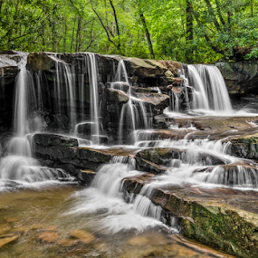 Upper Jonathan Run Falls by Kenneth Keifer - Landscapes Waterscapes ( stream, splash, waterfall, appalachia, flow, landscape, usa, mountains, rhododendron, upper jonathan run, nature, creek, long exposure, fayette county, jonathan run falls, jonathan run, brook, flowing, forest, pennsylvania, scenic, laurel highlands, woods, united states, rural, motion blur, splashing, laurel, cascade, falls, trees, woodland, appalachian, cascading, cataract, whitewater, ohiopyle, upper falls )