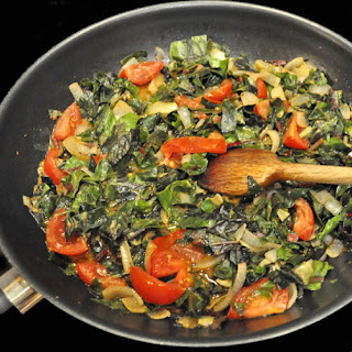Chard with Onions, Tomatoes and Dijon Mustard.