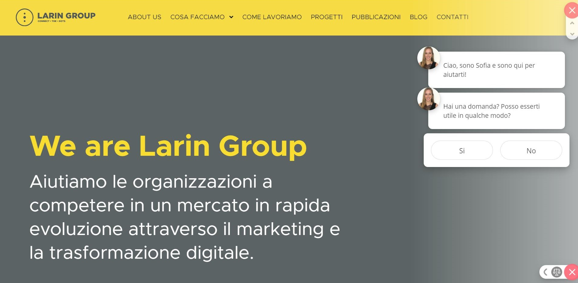 chatbot marketing sito web di Larin Group
