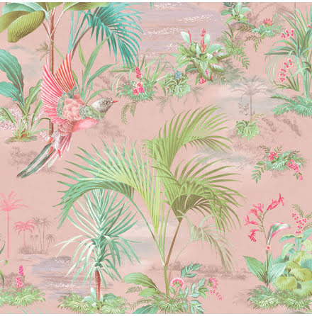 Pip 2020 Palm Scene Tapet med palmer - Rosa