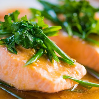 Steamed Norwegian Salmon with Miso-Soy Sauce.