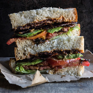 BLT with Caramelized Cayenne Bacon and Roasted Garlic-Chipotle Mayo
