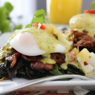 Barbacoa Eggs Benedict with Chimichurri Hollandaise