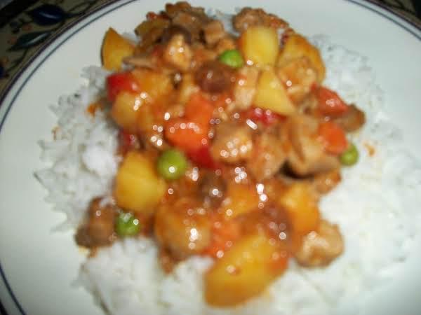 Diced Pork With Potato, Carrots And Peas Recipe