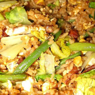 Fried Rice With Green Bean and Lettuce.