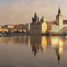 Prague  by Michaela Firešová - City,  Street & Park  Historic Districts ( prague, river, city )