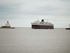 Photo: Day 40 Manitowoc to Ludington MI  The SS Badger arriving in manitowoc