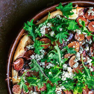 Homemade Pizza with Three Cheeses, Steak and Figs