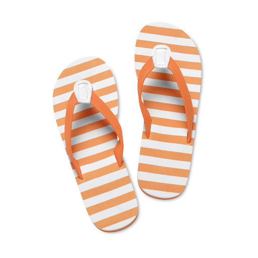 Printed Flip Flops - Red Stripes