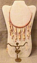 Photo: <BEREHYNYA> {Great Goddess Protectress} unique one-of-a-kind statement jewellery by Luba Bilash ART & ADORNMENT  # 114 DREAM KEEPER/ЗБЕРІГАЧ МРІЙ - white coral, copper, rose gold vermeil $160/set SOLD/ ПРОДАНИЙ