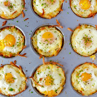 Cheesy Hash Brown Cups with Baked Eggs.