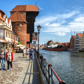The Crane III by David Guest - City,  Street & Park  Historic Districts ( motlawa, gdansk, street, crane, people, poland )