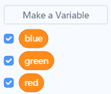 Tạo 3 biến red, green, blue