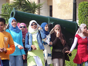 Photo: A group of school girls at the military museum.