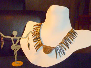 Photo: <BEREHYNYA> {Great Goddess Protectress} unique one-of-a-kind statement jewellery by Luba Bilash ART & ADORNMENT  MAGPIE SONG – ПІСНЯ СОРОКИ - crackle quartz pendant, M'o'pearl, copper Moroccan beads SOLD/ПРОДАНИЙ